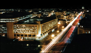 FBI headquarters at night, official photo