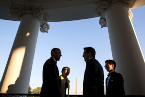 President Obama and Prime Minister Abe speak on a White House terrace during an April state visit.